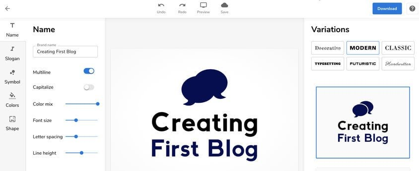 bluehost logo maker step2