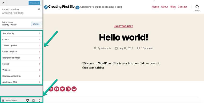 wordpress customize twenty twenty theme
